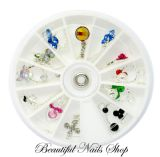 12 Nail Art Decoration Dangles Charms With Rhinestones / set 2